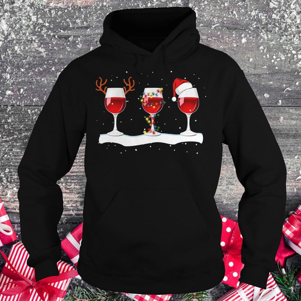 Original Three wine glasses with Christmas light, deer horn and Santa hat shirt Hoodie