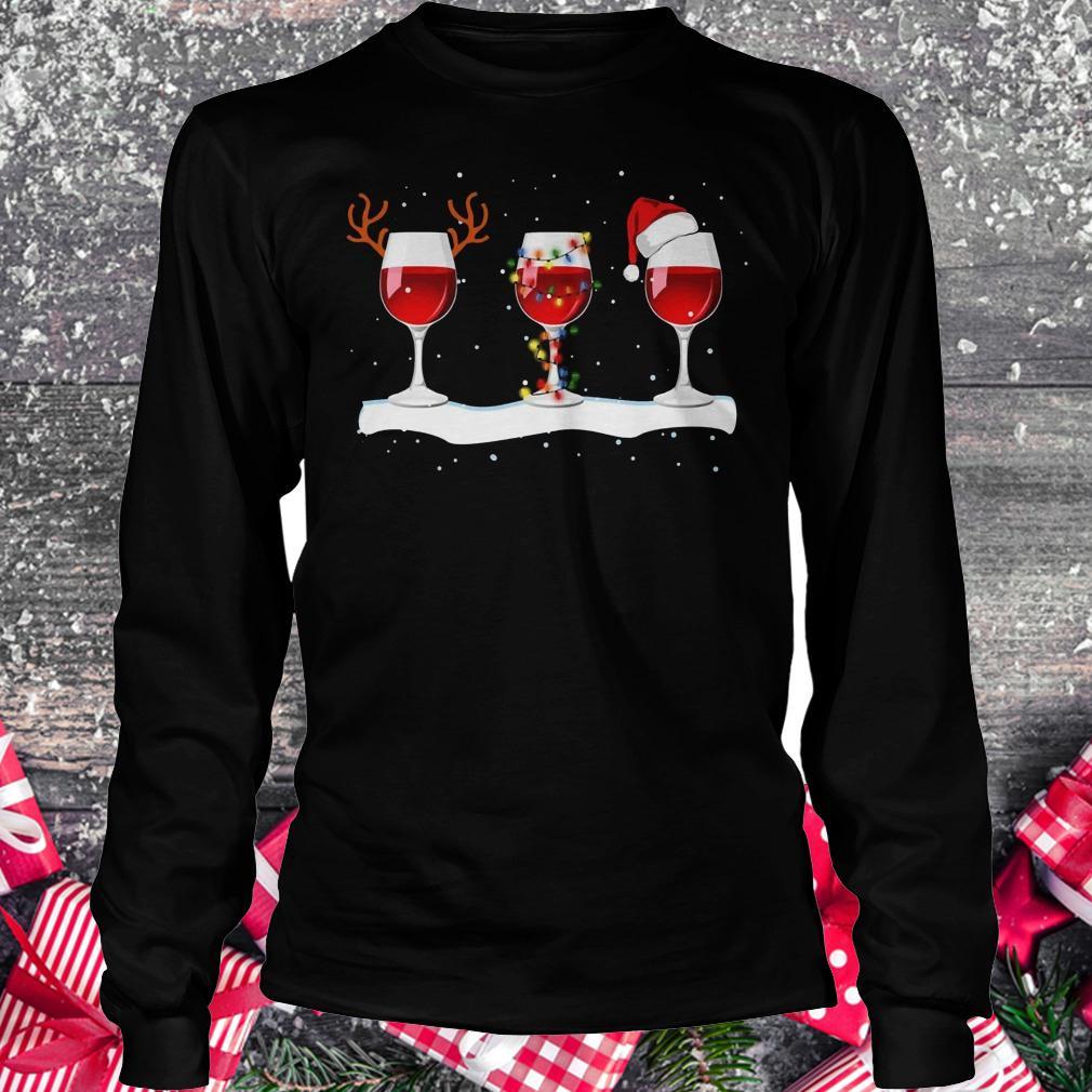 Original Three wine glasses with Christmas light, deer horn and Santa hat shirt Longsleeve Tee Unisex