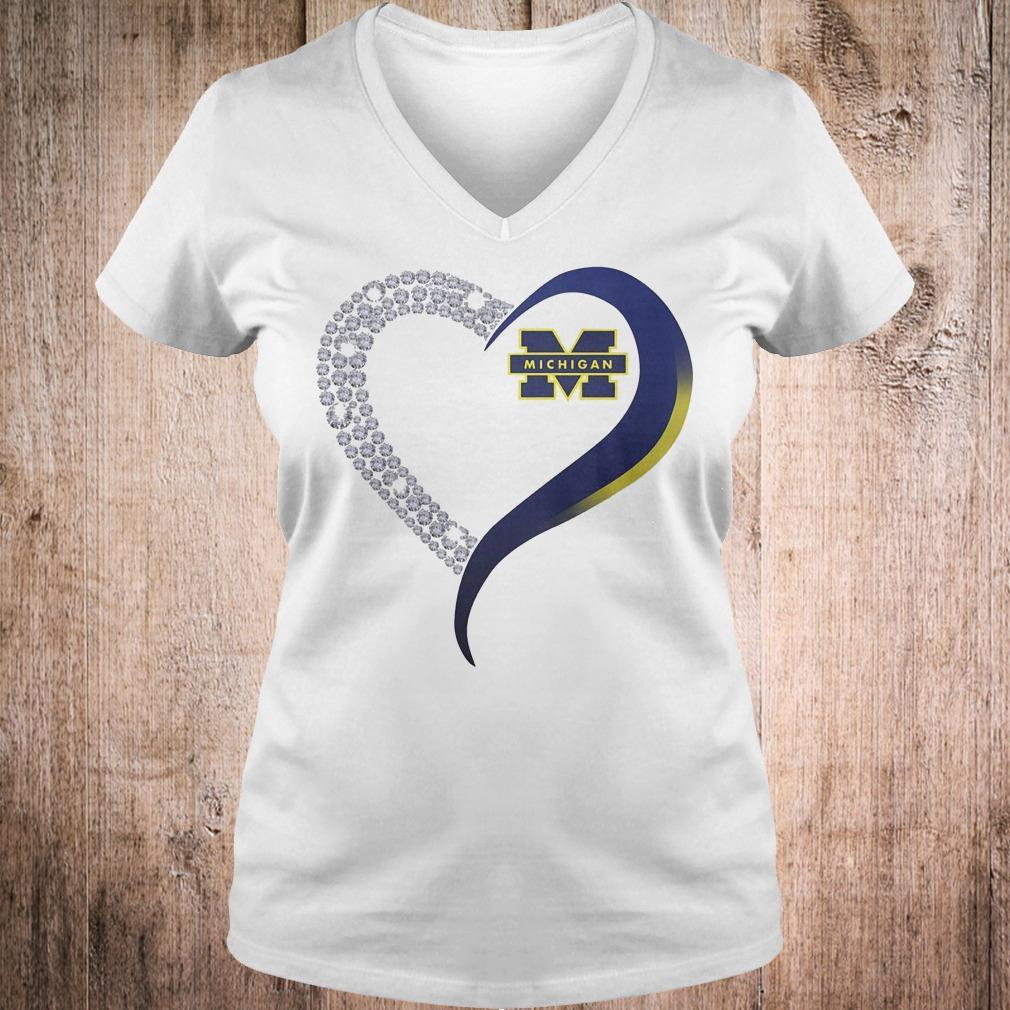 Premium Michigan Wolverines heart blink shirt Ladies V-Neck