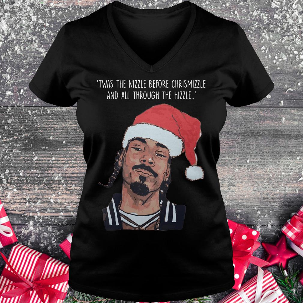 Premium Snoop Dogg Twas The Nizzle Before Christmizzle And All Through The Hizzle t-shirt Ladies V-Neck