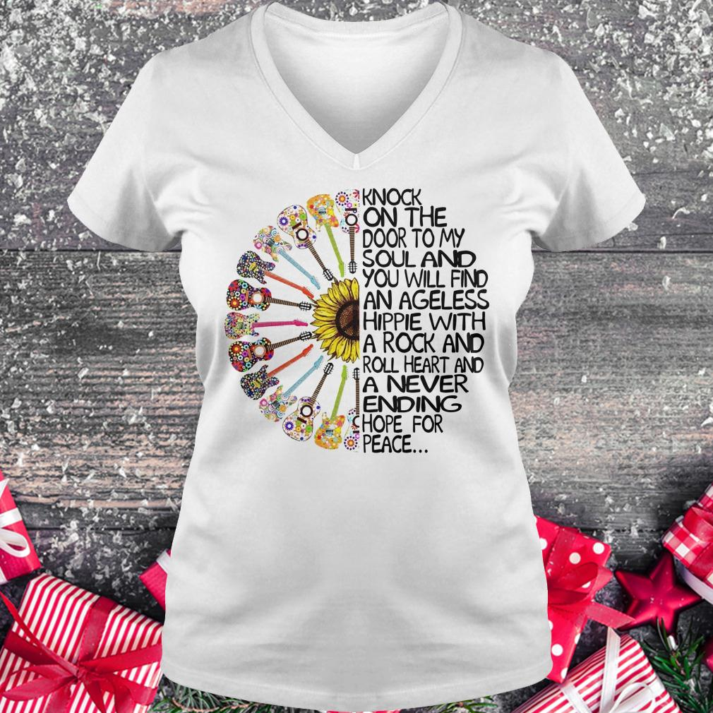 Best price Hippie Soul Rock Guitar Knock on the door to my soul and you will find an ageless hippie shirt Ladies V-Neck