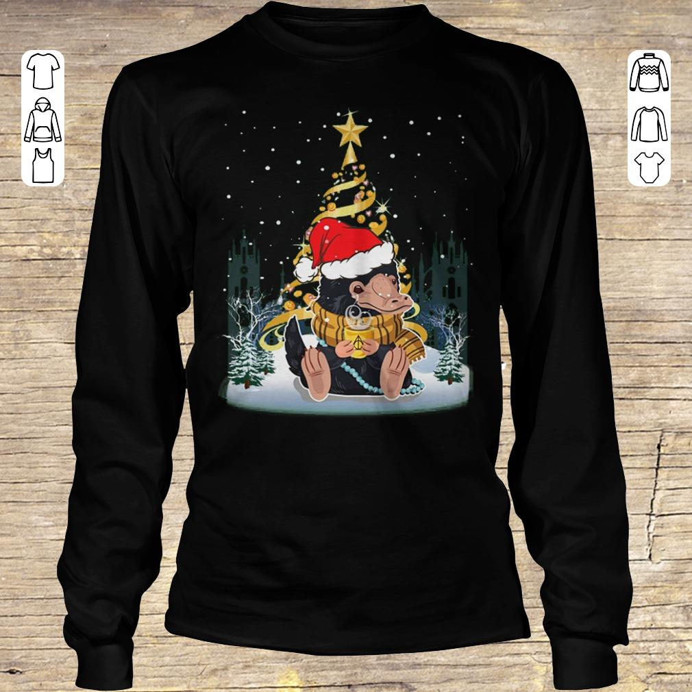 Funny Niffler Santa Hat Christmas Tree Under Snow Shirt Longsleeve Tee Unisex.jpg