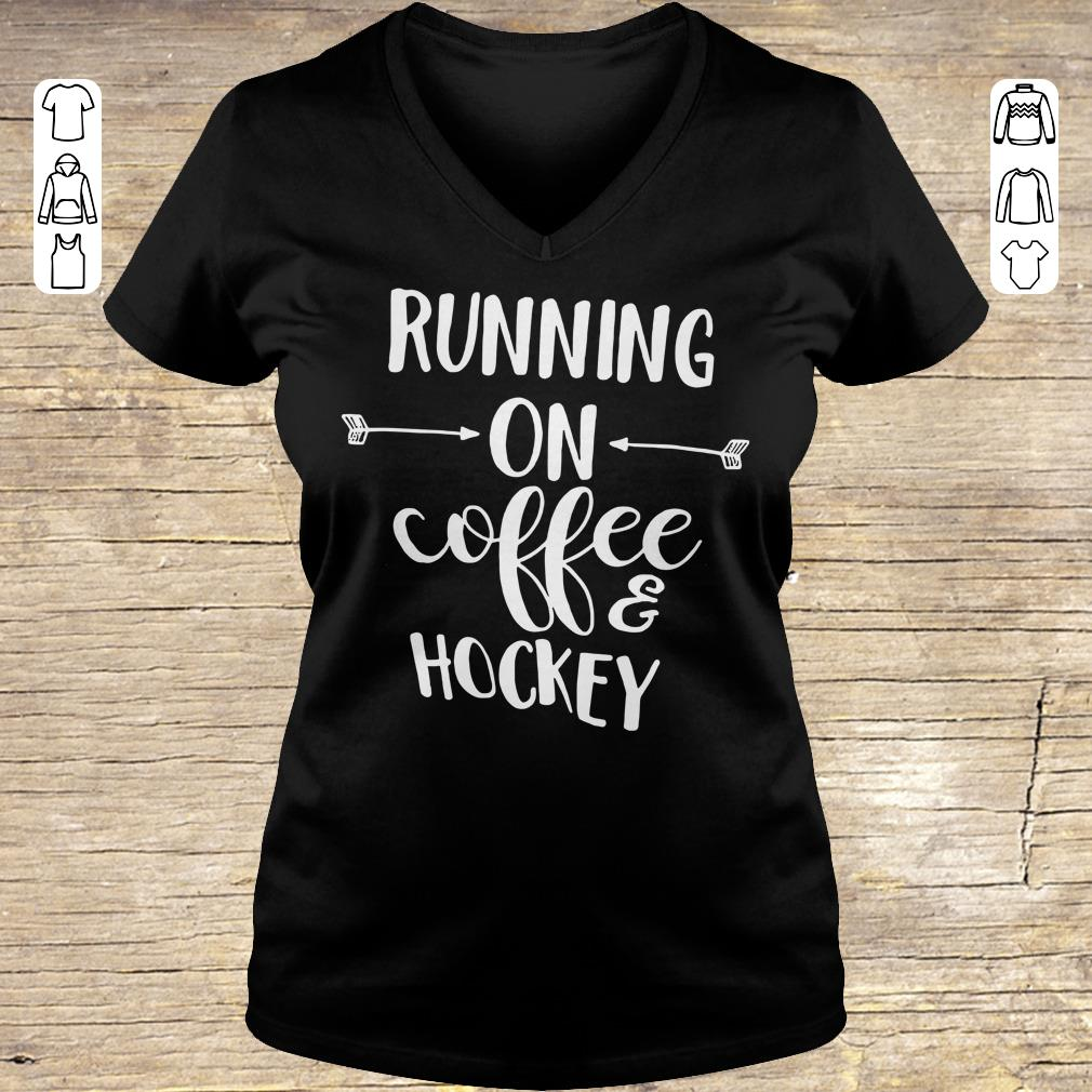 Hot Running on coffee and hockey shirt hoodie Ladies V-Neck
