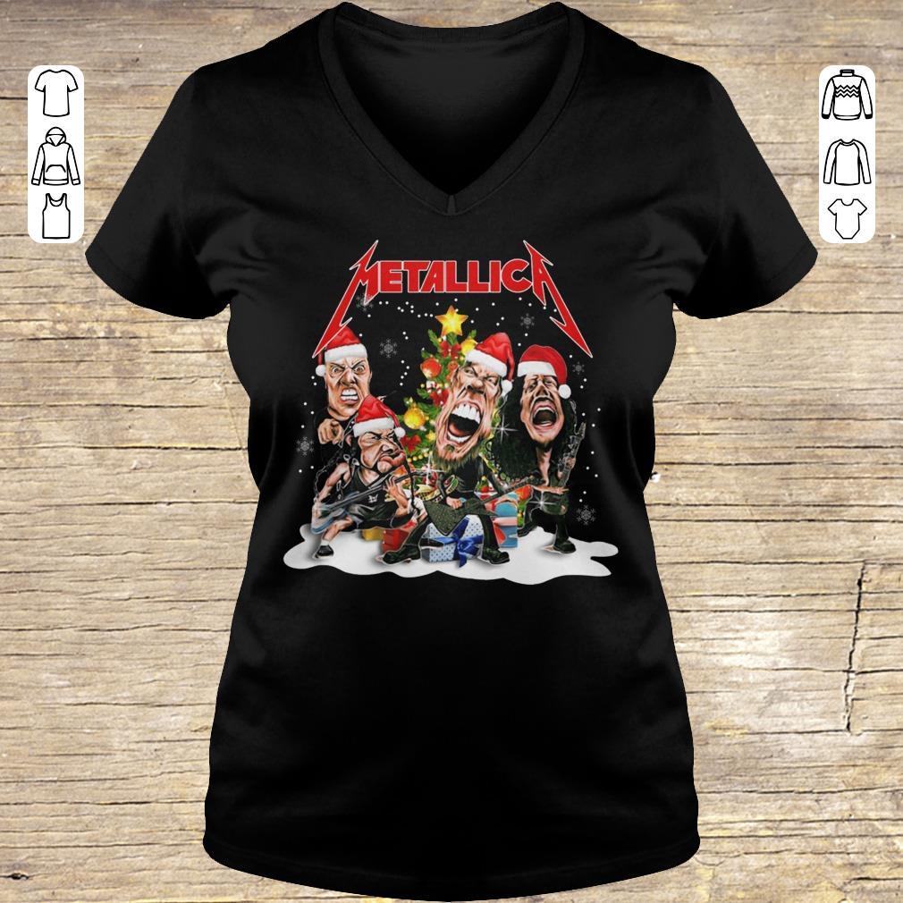 Pretty Metallica Christmas tree shirt Ladies V-Neck