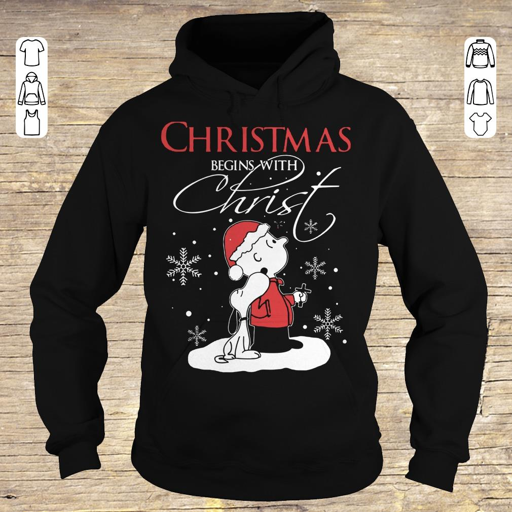 Top Snoopy and Charlie Brown christmas begins with christ shirt Hoodie