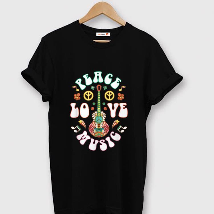 Nice Peace Love Music Guitar Hippies Retro shirt