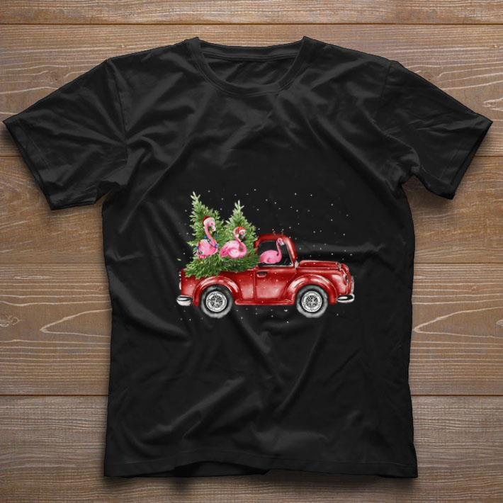 Pretty Flamingos Ride Red Truck Christmas Shirt 1 1.jpg