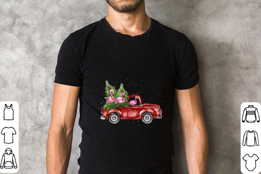 Pretty Flamingos Ride Red Truck Christmas Shirt 2 1.jpg