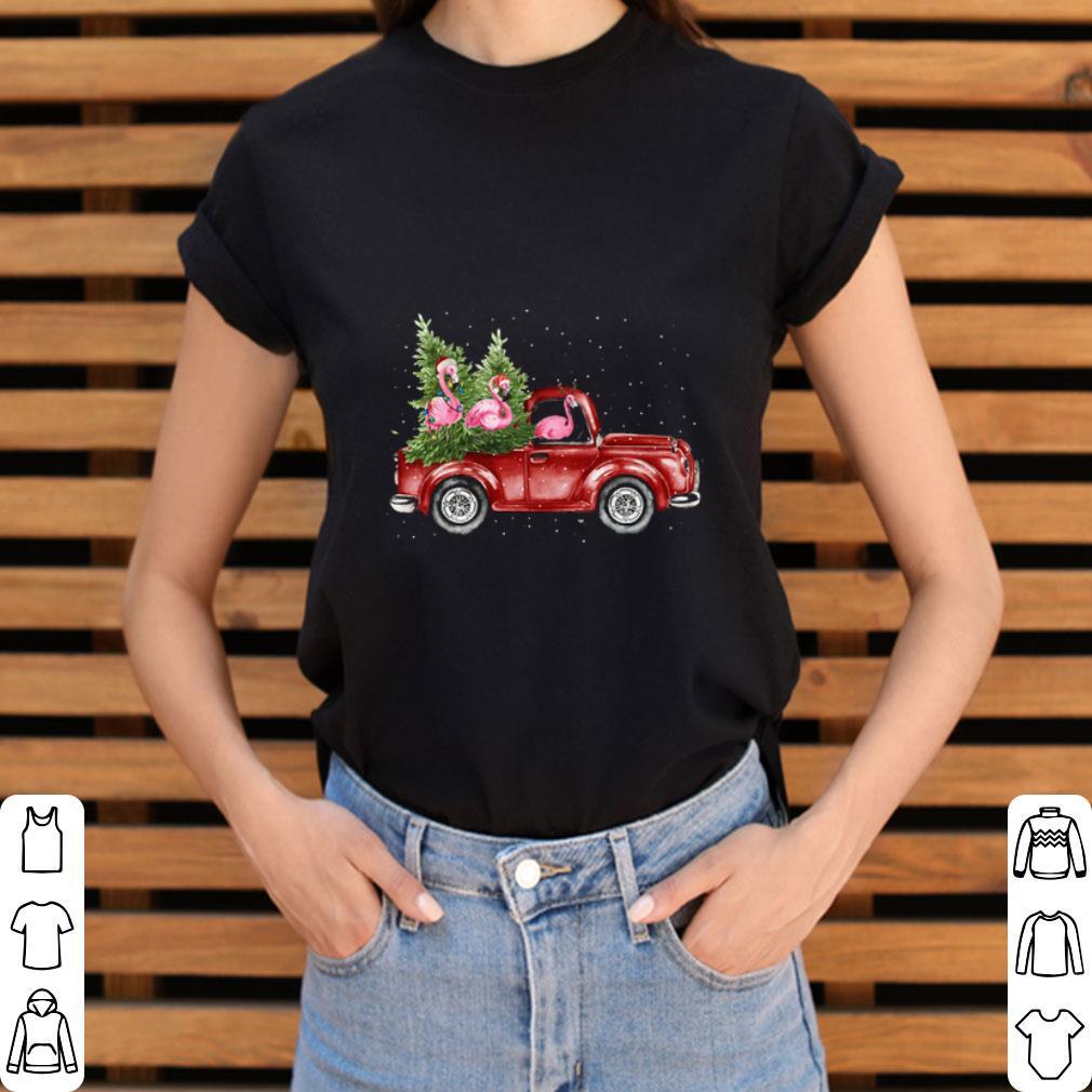Pretty Flamingos Ride Red Truck Christmas Shirt 3 1.jpg