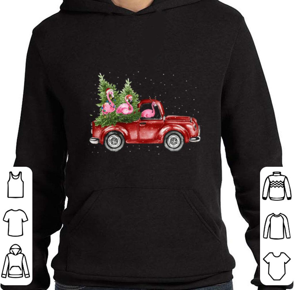 Pretty Flamingos ride red truck Christmas shirt