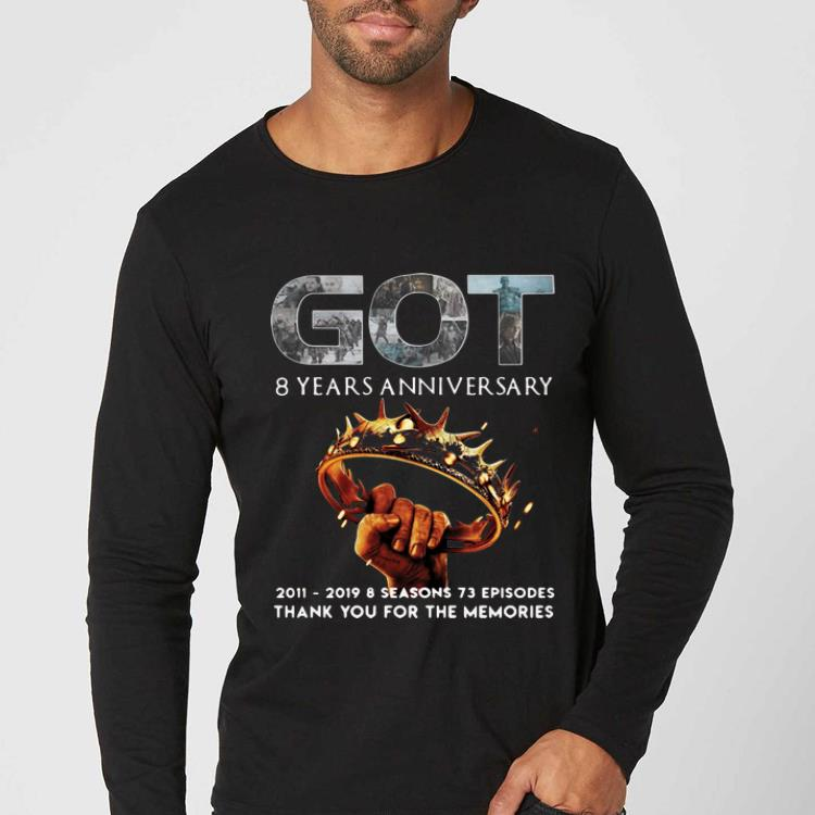 Nice 8 Years Anniversary Thank You For The Memories Game Of Thrones shirt