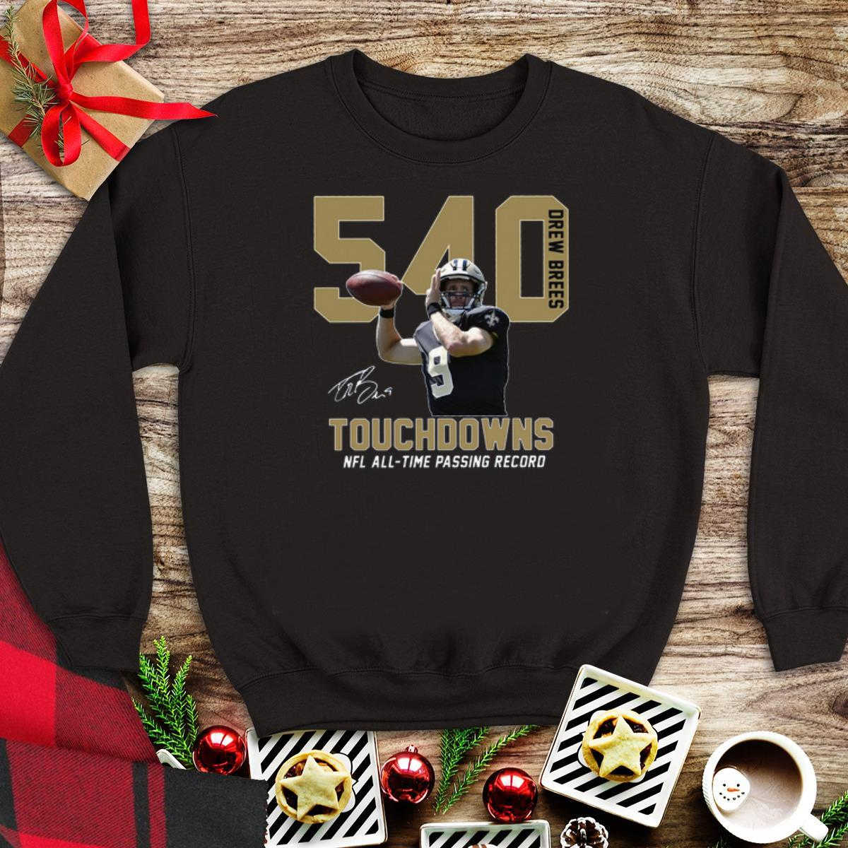 Awesome Drew Brees 540 Touchdowns NFL all-time passing record signature shirt