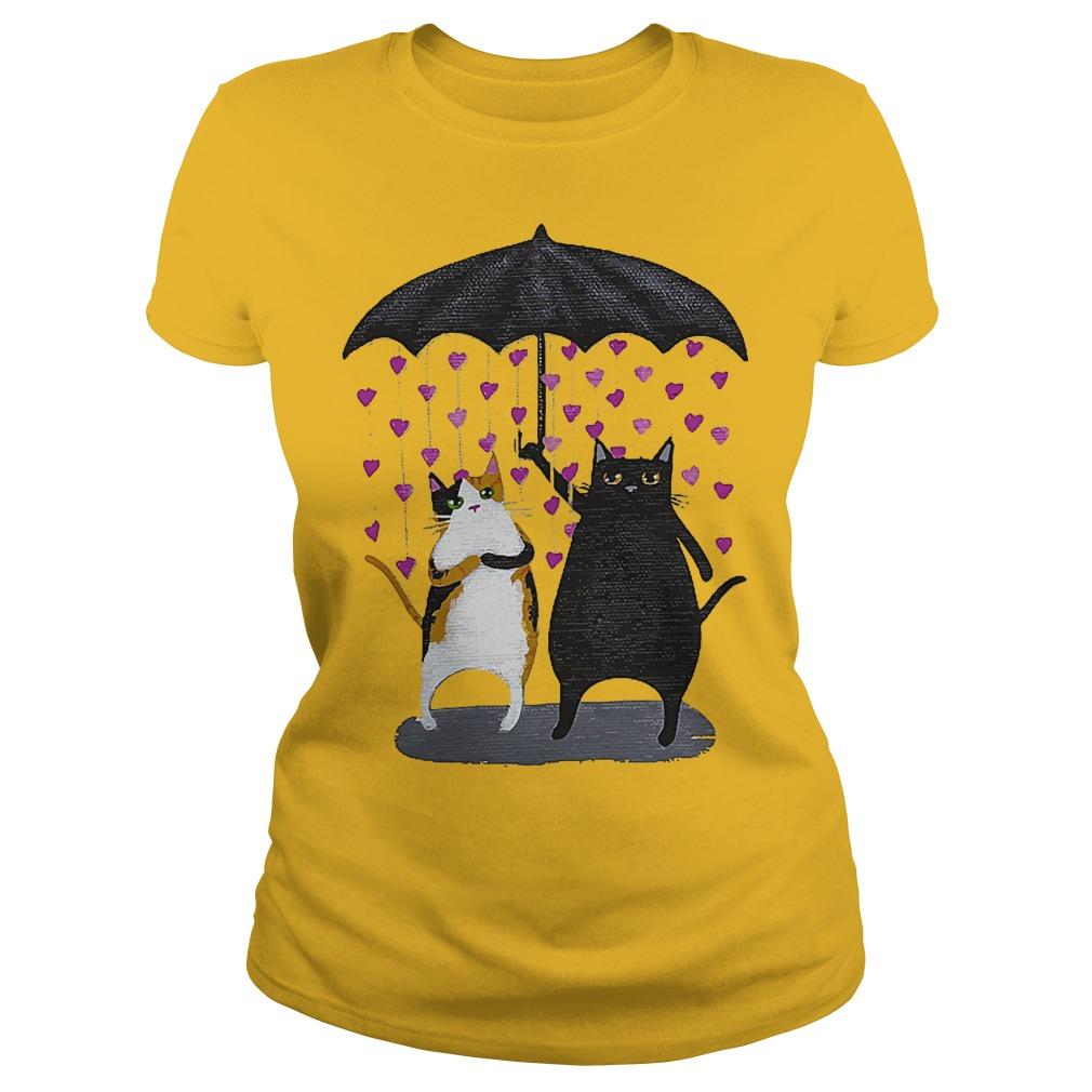 Cat Under Heart Rain Umbrella Ladies