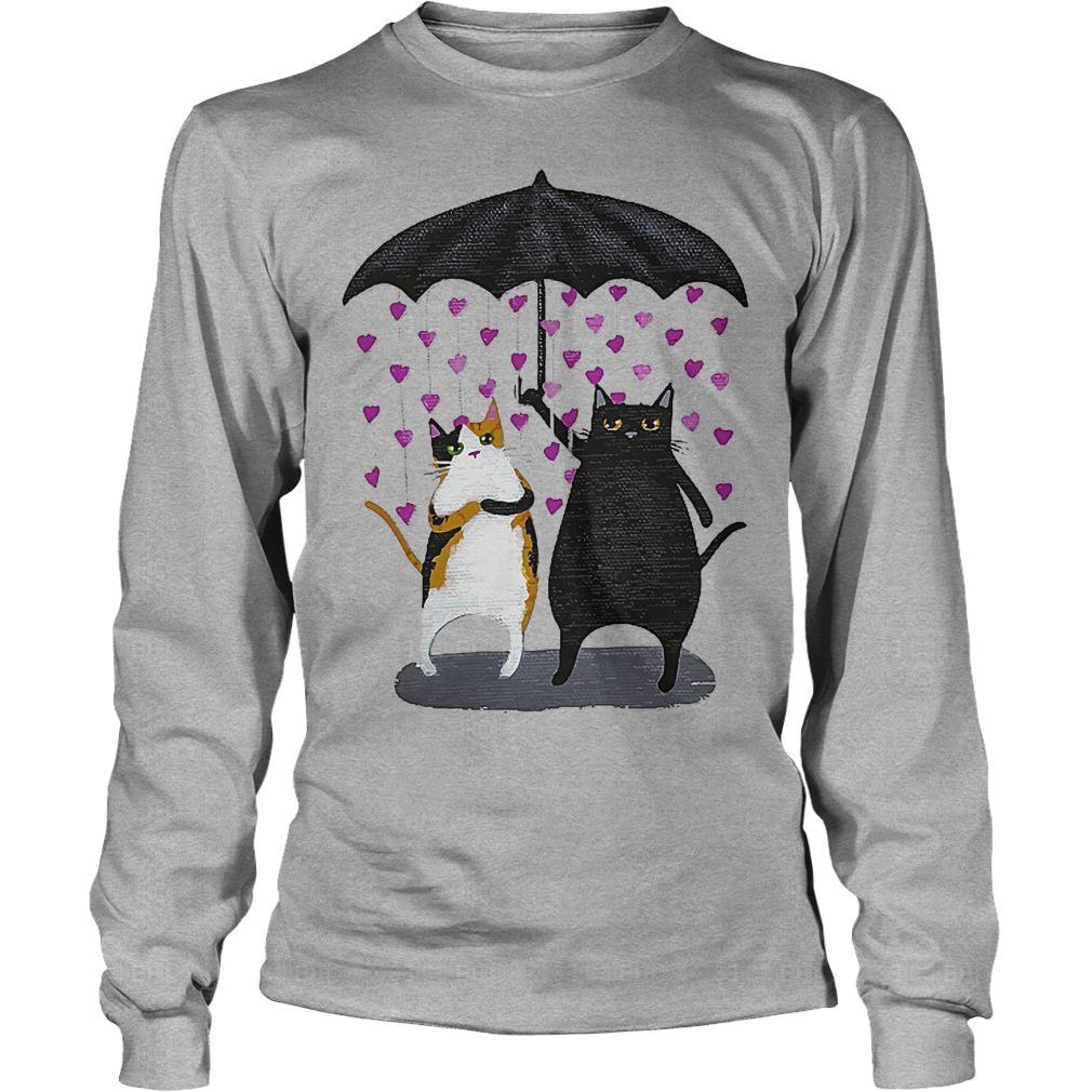 Cat Under Heart Rain Umbrella Longsleeve