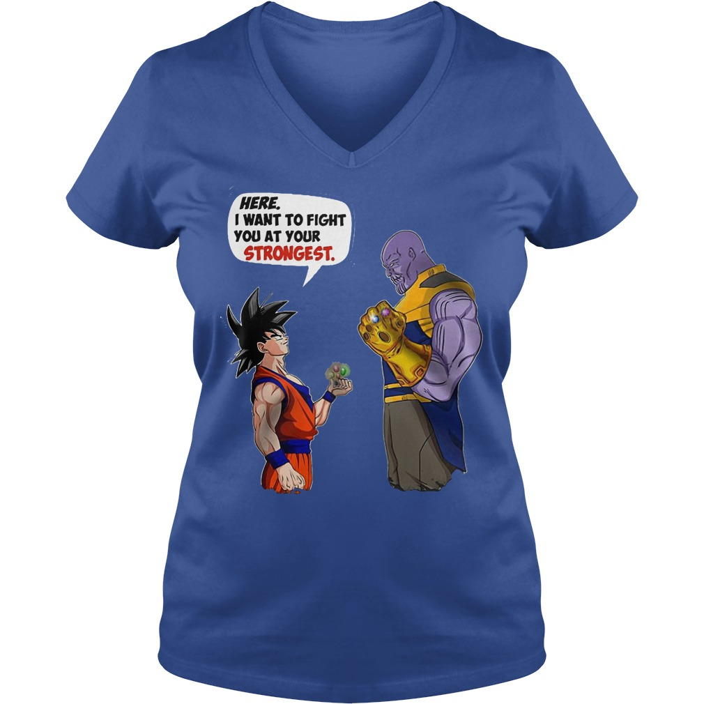 Goku And Thanos Here I Want To Fight Your Strongest V Neck