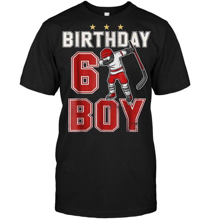 6 Year Old Birthday Boy Dabbing Ice Hockey T Shirt