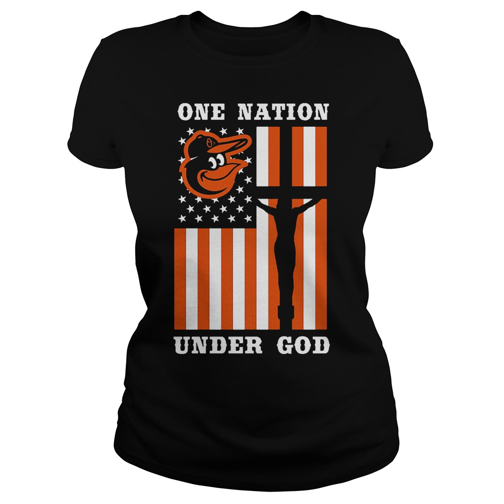 Baltimore Orioles – One Nation Under God T-Shirt Ladies Tee