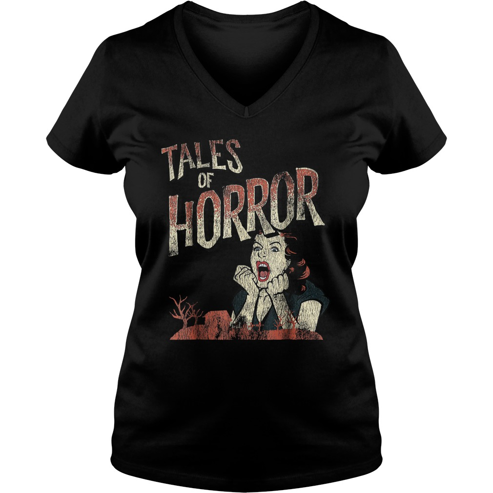 Best Price Funny Halloween Tales Of Horror T-Shirt Ladies V-Neck
