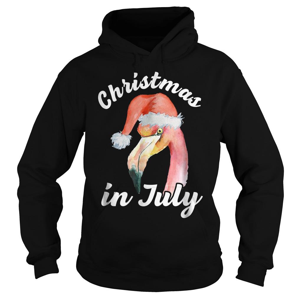 Flamingo Christmas In July T-Shirt Hoodie