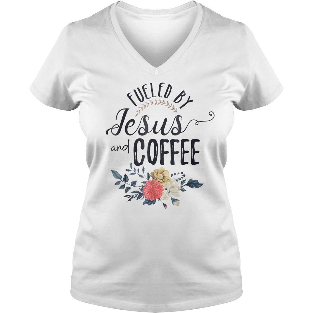 Fueled By Jesus And Coffee T-Shirt Ladies V-Neck