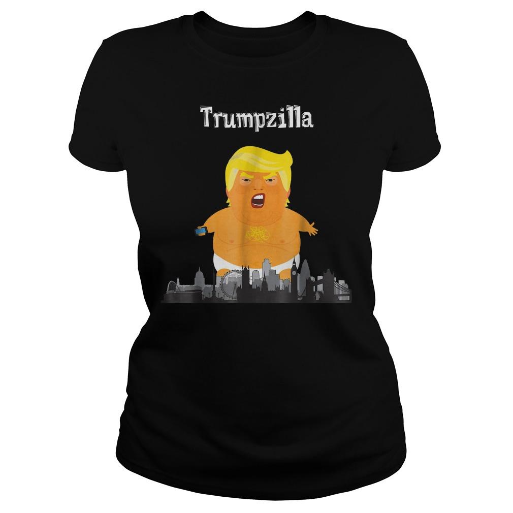 Funny Trump Baby Balloon London Trumpzilla T-Shirt Classic Ladies Tee