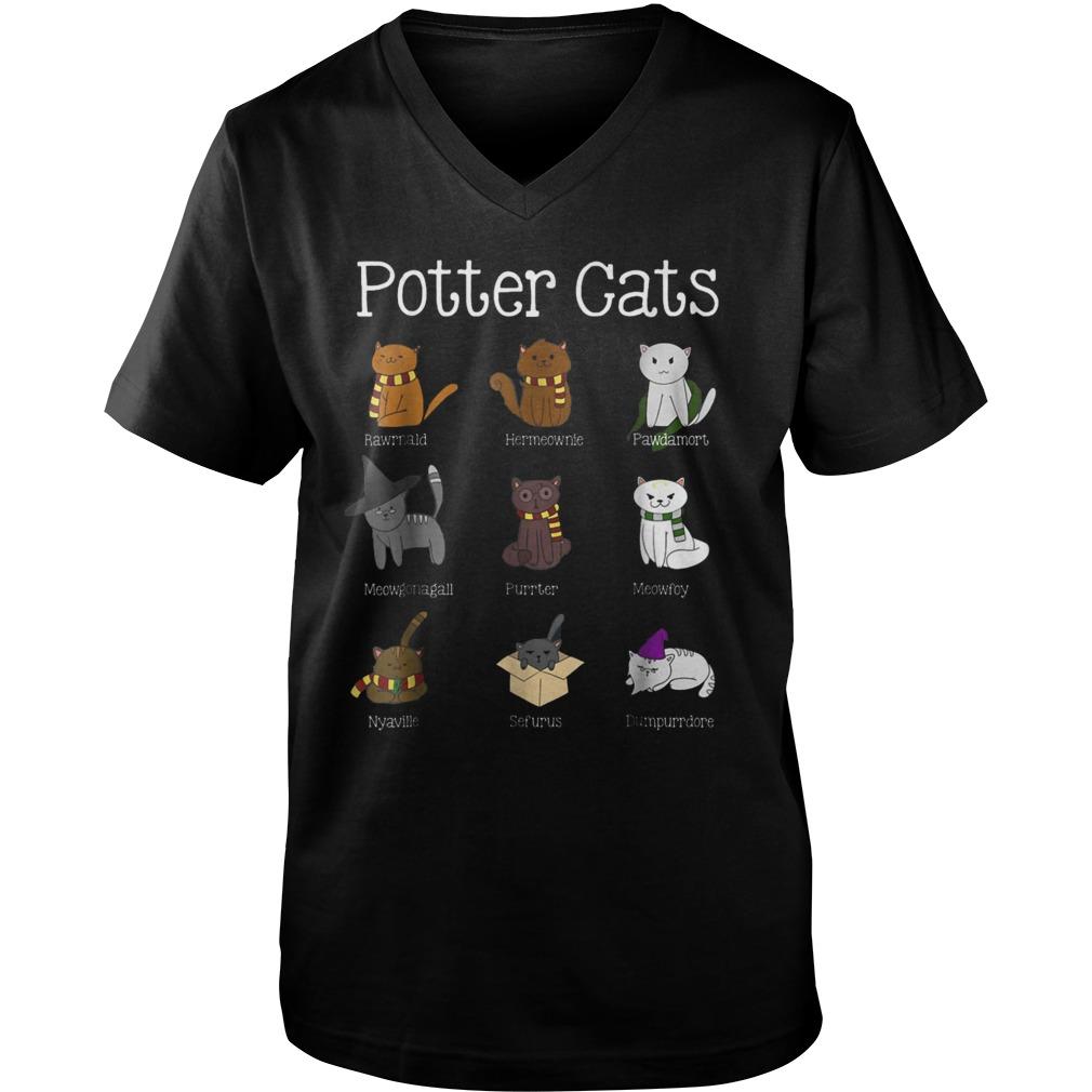 Harry Pawter Cute Kitten Nine Potter Cats T-Shirt Guys V-Neck