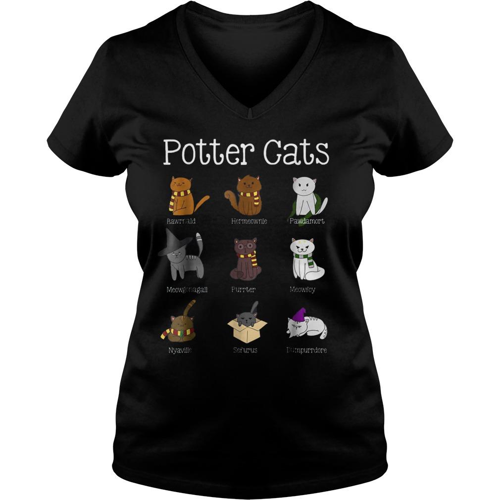 Harry Pawter Cute Kitten Nine Potter Cats T-Shirt Ladies V-Neck