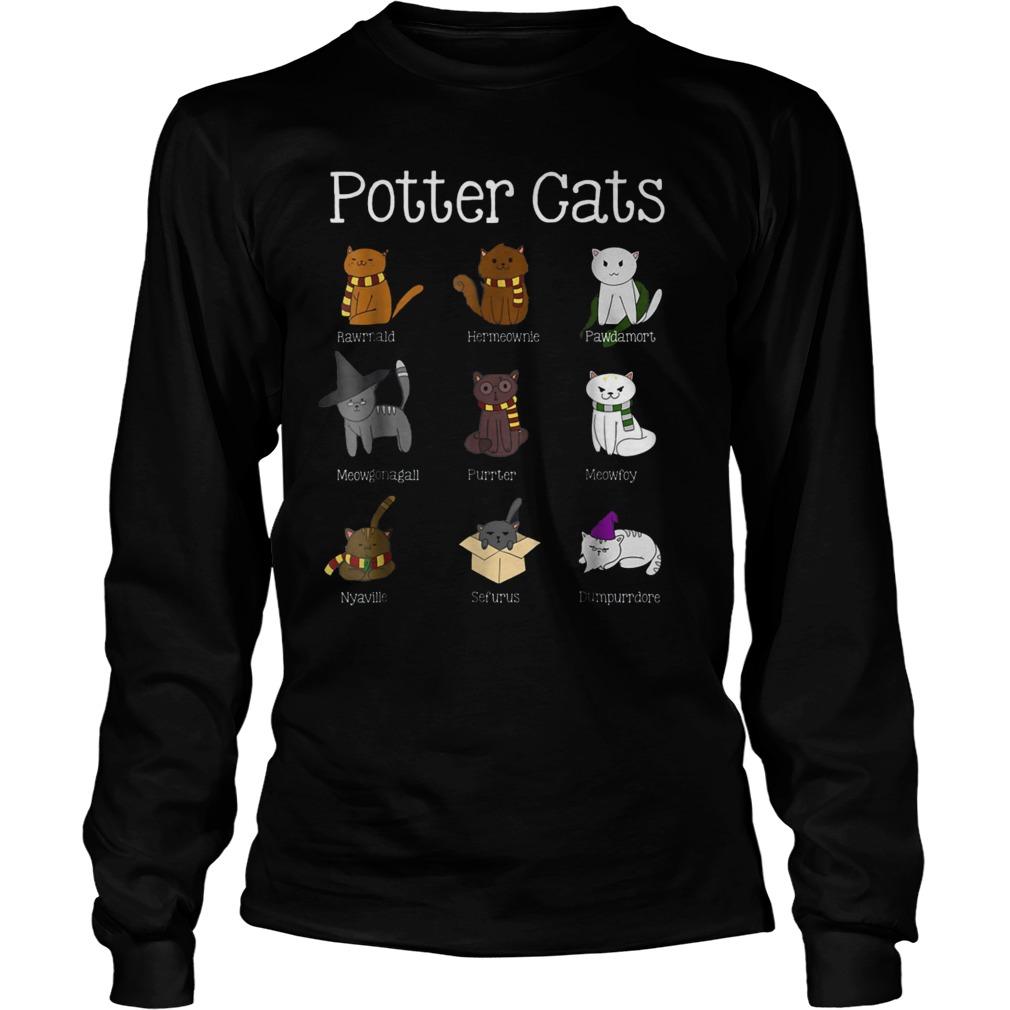 Harry Pawter Cute Kitten Nine Potter Cats T-Shirt Longsleeve Tee Unisex