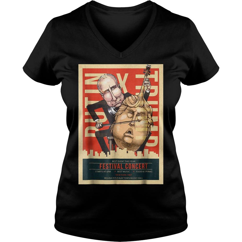 I Voted Trump Putin Concert Impeach Resist T-Shirt Ladies V-Neck