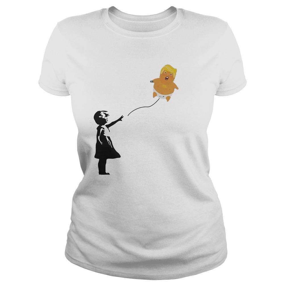 Premium Balloon Girl And Baby Trump T-Shirt Classic Ladies Tee