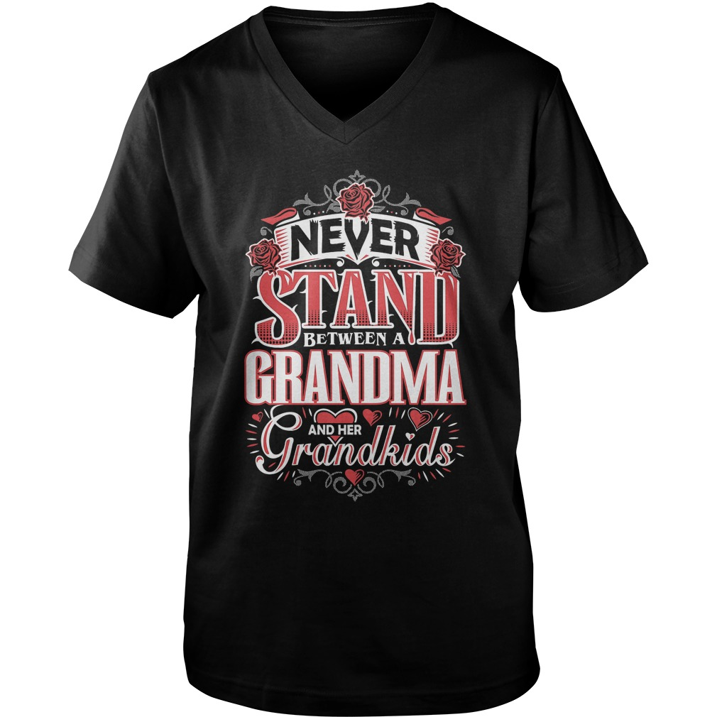 Shouldn't Stand Between A Grandma and Her Grandkids T-Shirt Guys V-Neck