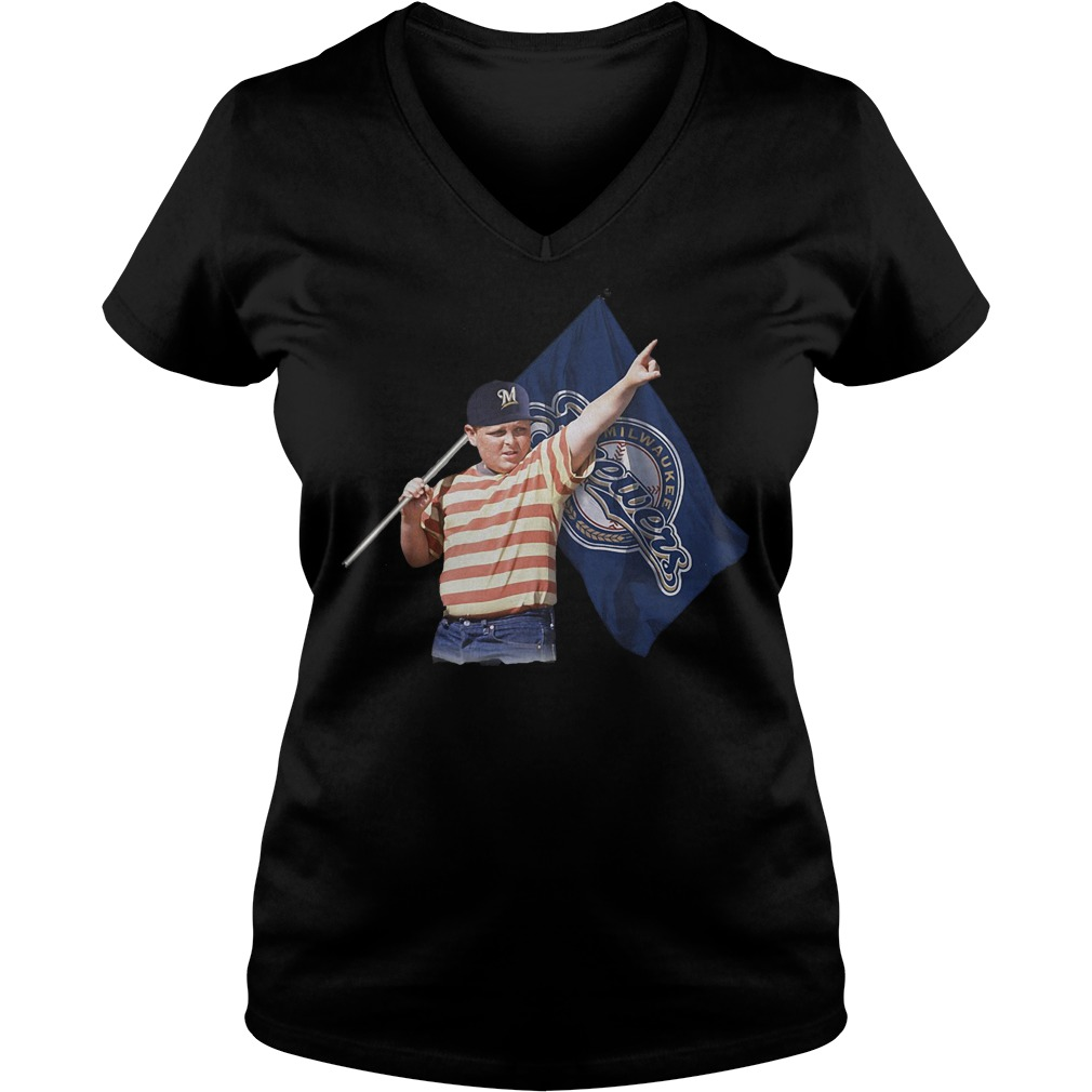 The Sandlot With Milwaukee Brewers Flag T-Shirt Ladies V-Neck