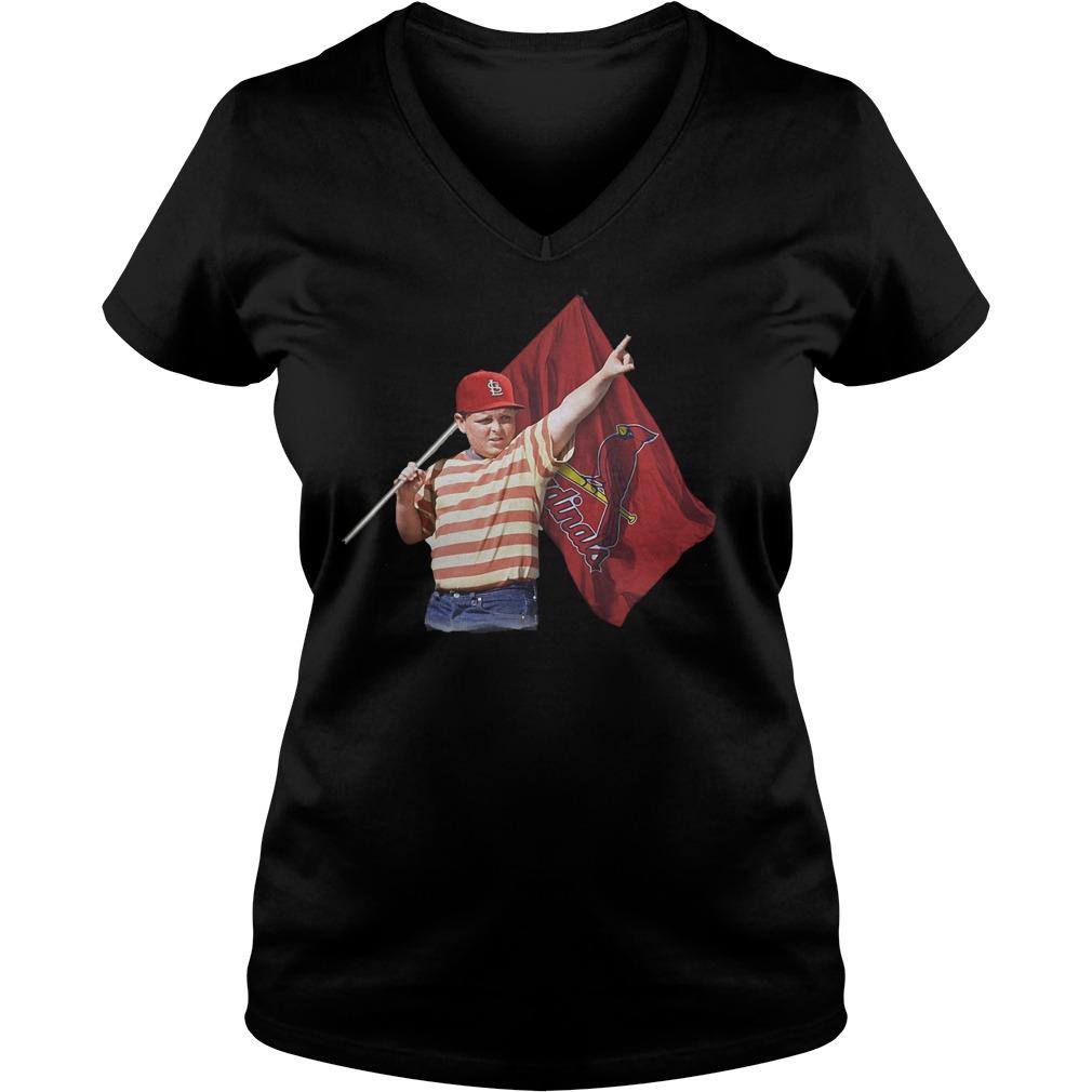 The Sandlot With St Louis Cardinals Flag T-Shirt Ladies V-Neck