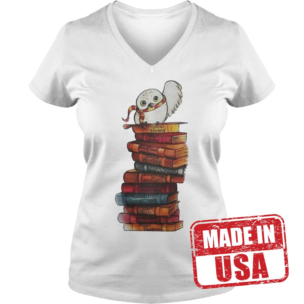 Original Harry Potter - Owl And Books Shirt Ladies V-Neck