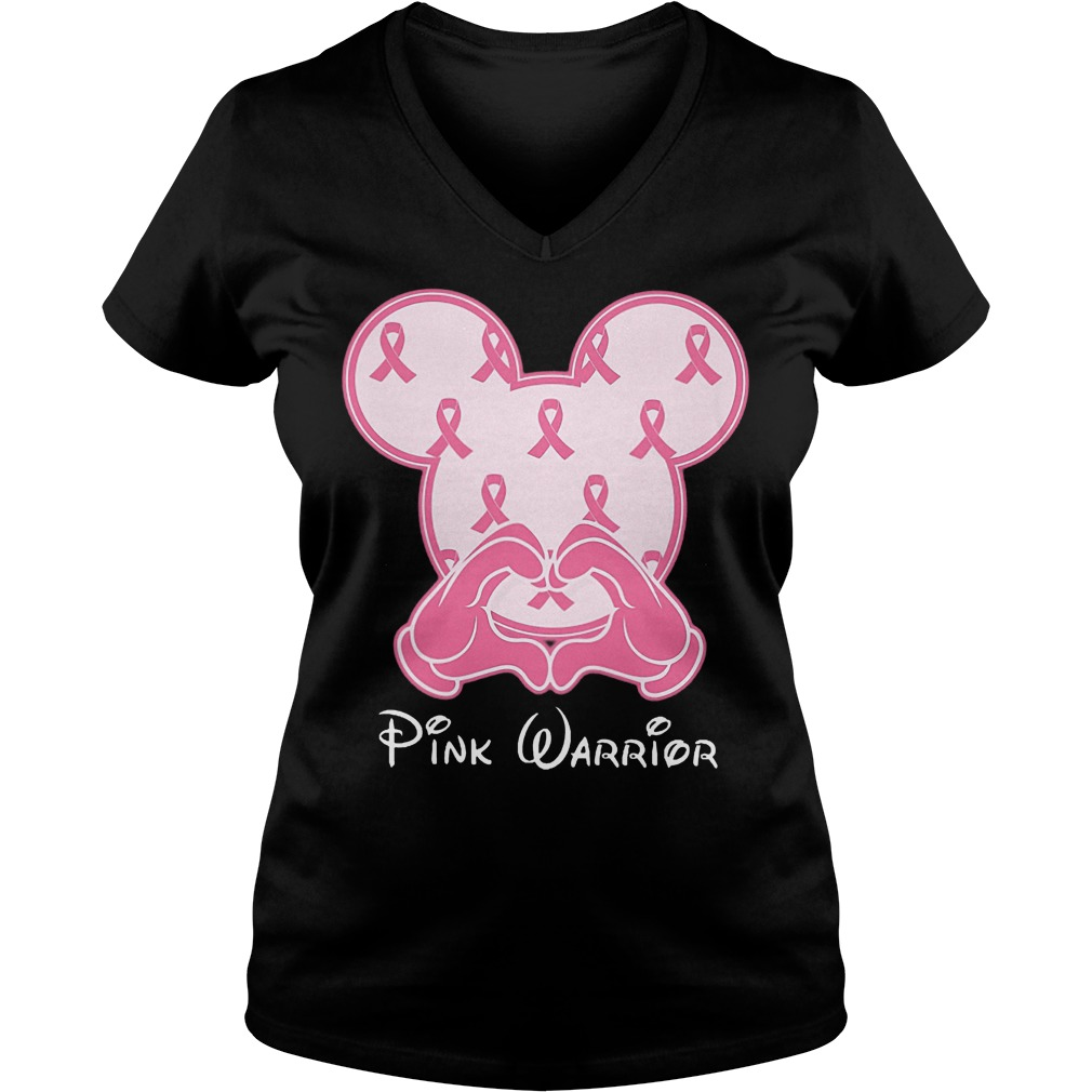 Premium Breast cancer mickey mouse pink warrior shirt Ladies V-Neck