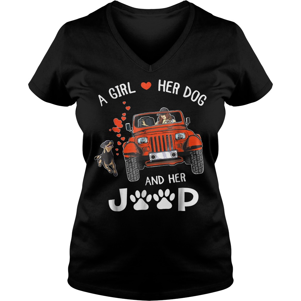A girl her dog and her jeep shirt Ladies V-Neck