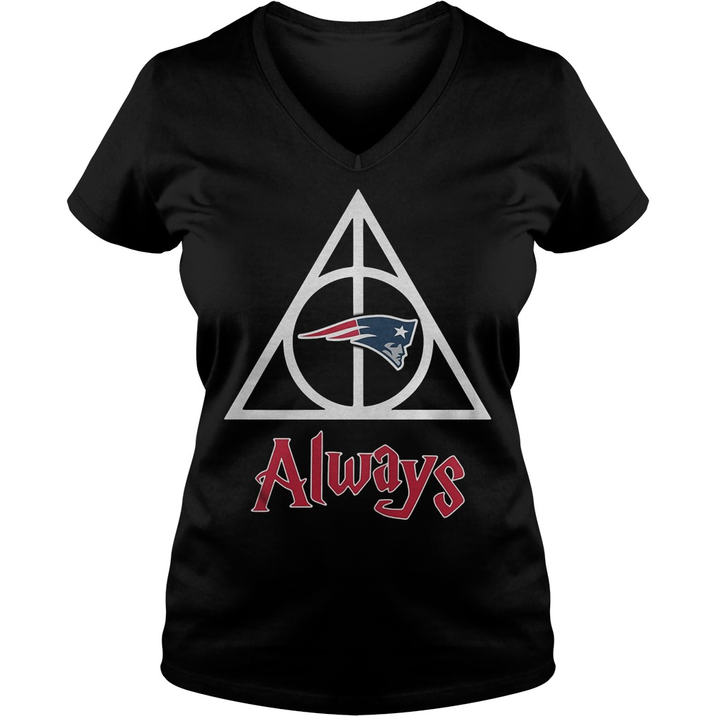 New England Patriots Harry Potter Deathly Hallows Always Shirt Ladies V-Neck