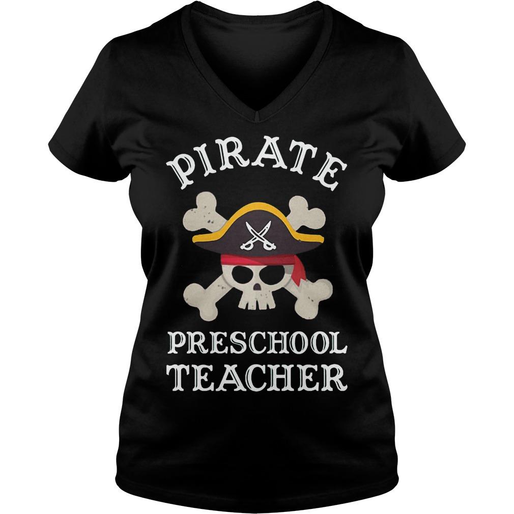 Pirate Preschool Teacher Shirt Ladies V-Neck