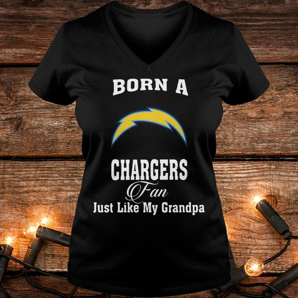 Born A Chargers Fan Just Like My Grandpa T-Shirt Ladies V-Neck