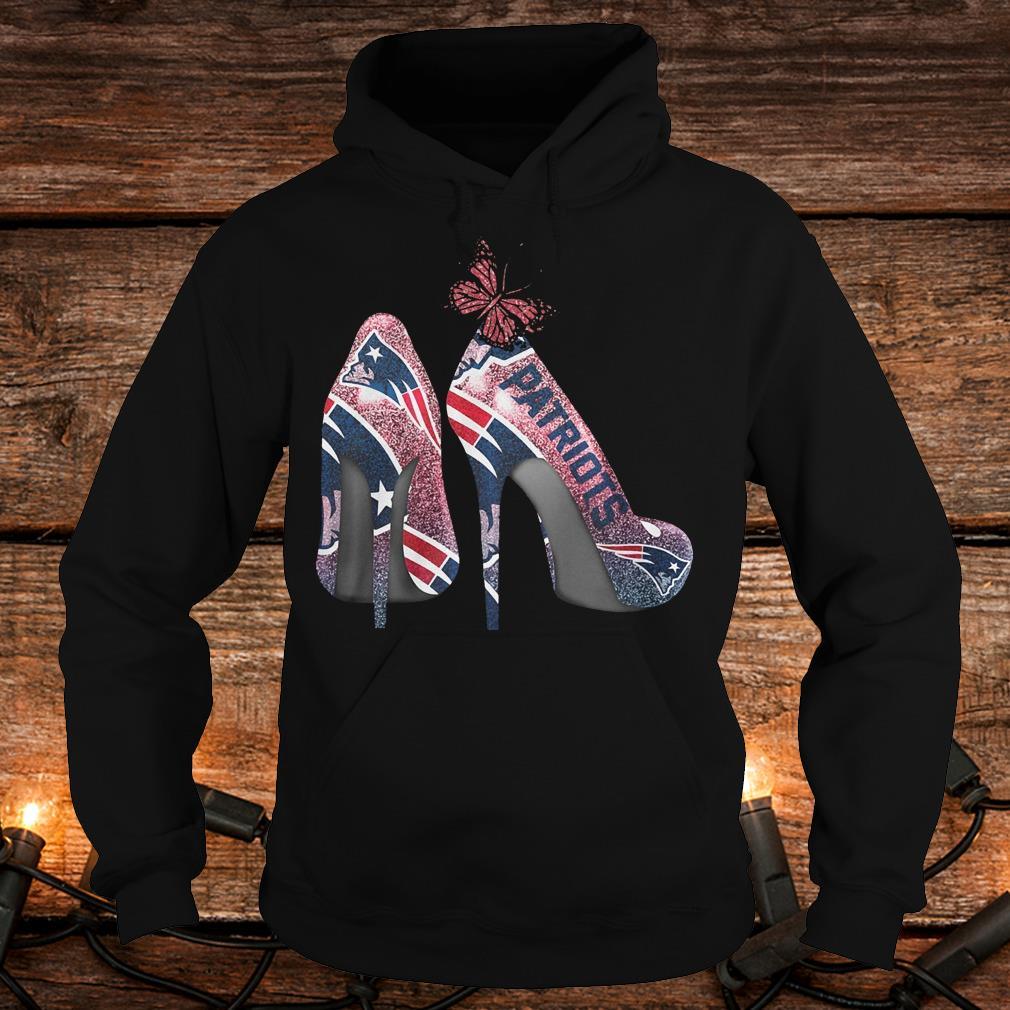 Butterfly Heel Rhinestones New England Patriots Nfl Shirt Hoodie