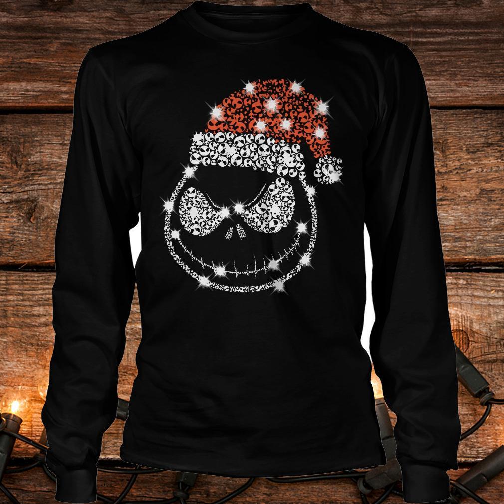 Original Christmas Rhinestone Jack Skellington with Santa hat Longsleeve Tee Unisex