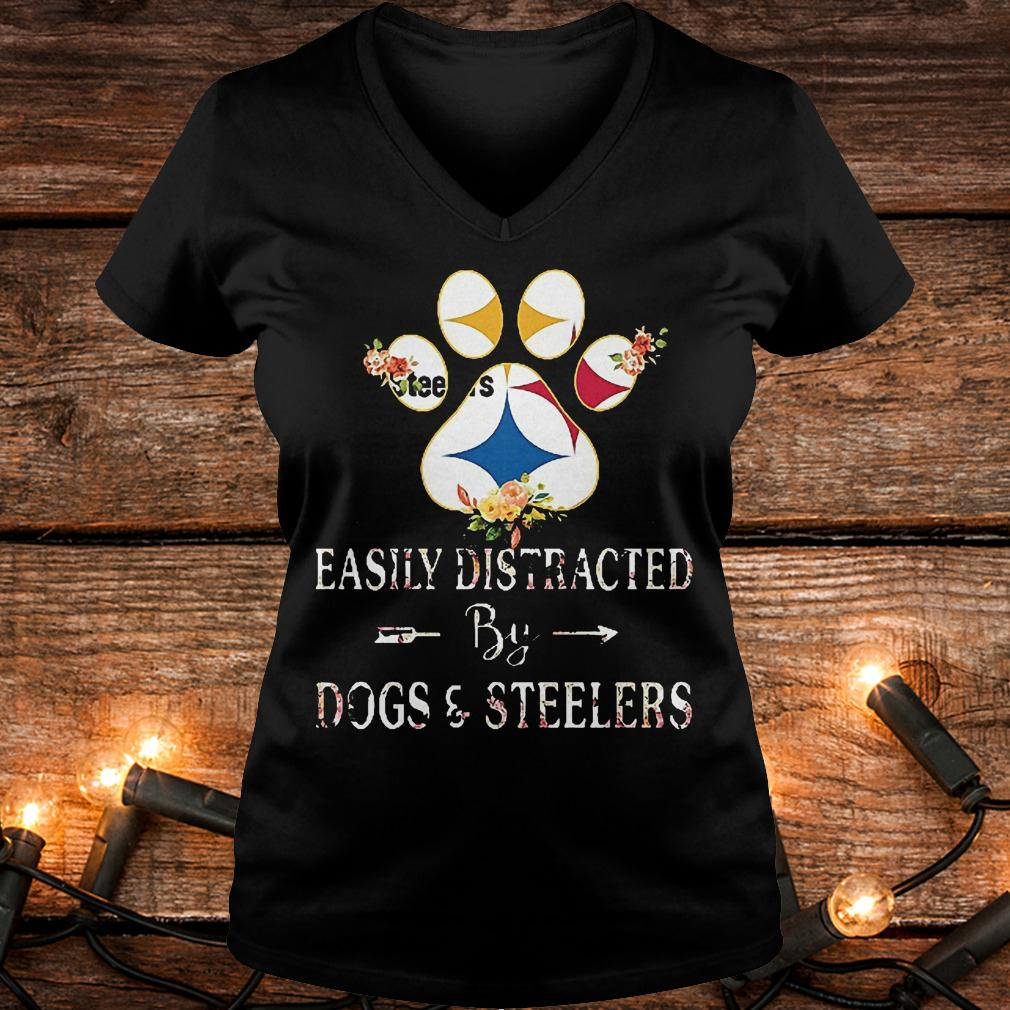 Premium Paw bear easily distracted by dogs and Steelers Shirt Ladies V-Neck