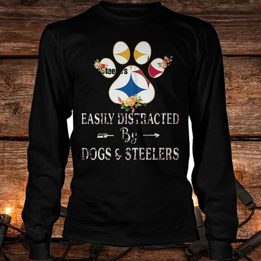 Premium Paw bear easily distracted by dogs and Steelers Shirt Longsleeve Tee Unisex