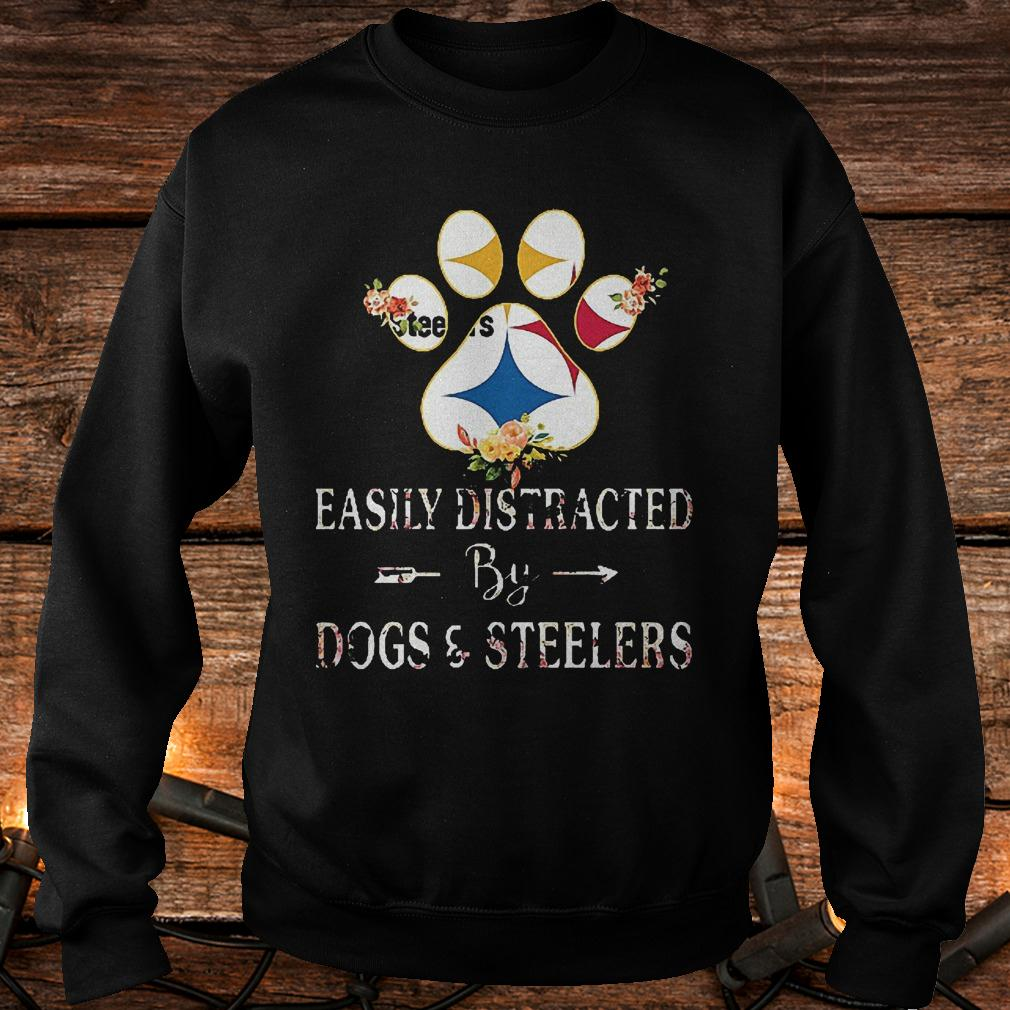 Premium Paw bear easily distracted by dogs and Steelers Shirt Sweatshirt Unisex