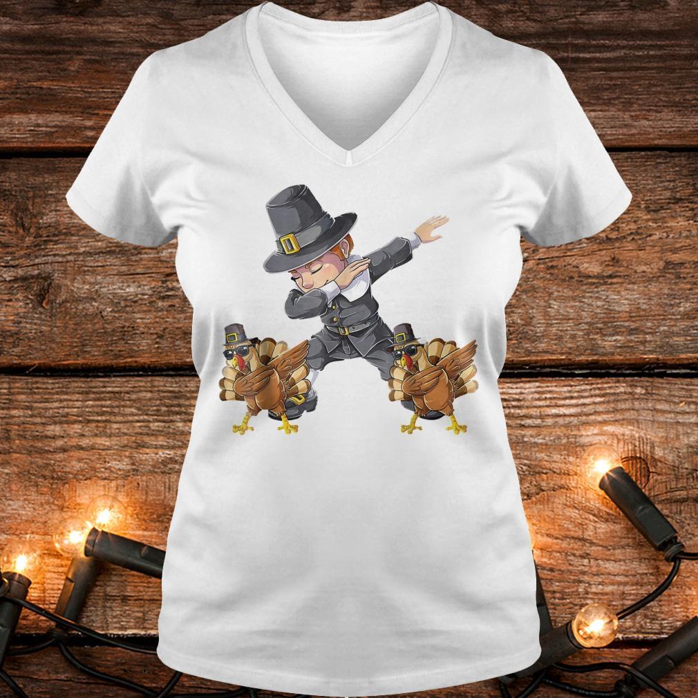 Awesome Thanksgiving Dabbing Boy Turkey Shirt Ladies V-Neck