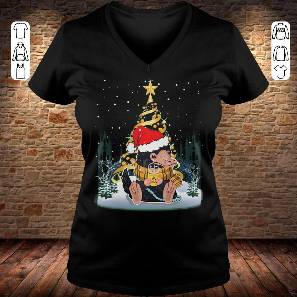 Hot Christmas tree Under Snow Niffler Santa Hat shirt longsleeve Ladies V-Neck