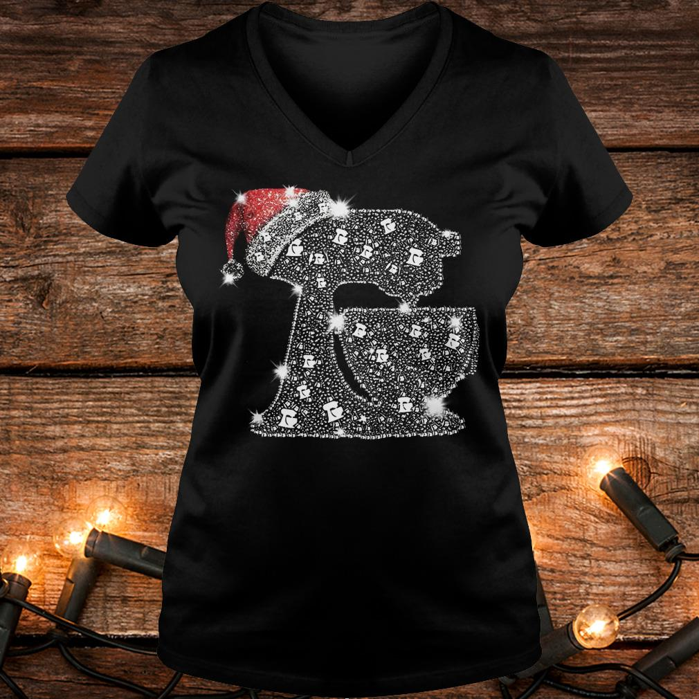 Nice Snoopy Baking Glitter and rhinestones with santa hat shirt Ladies V-Neck