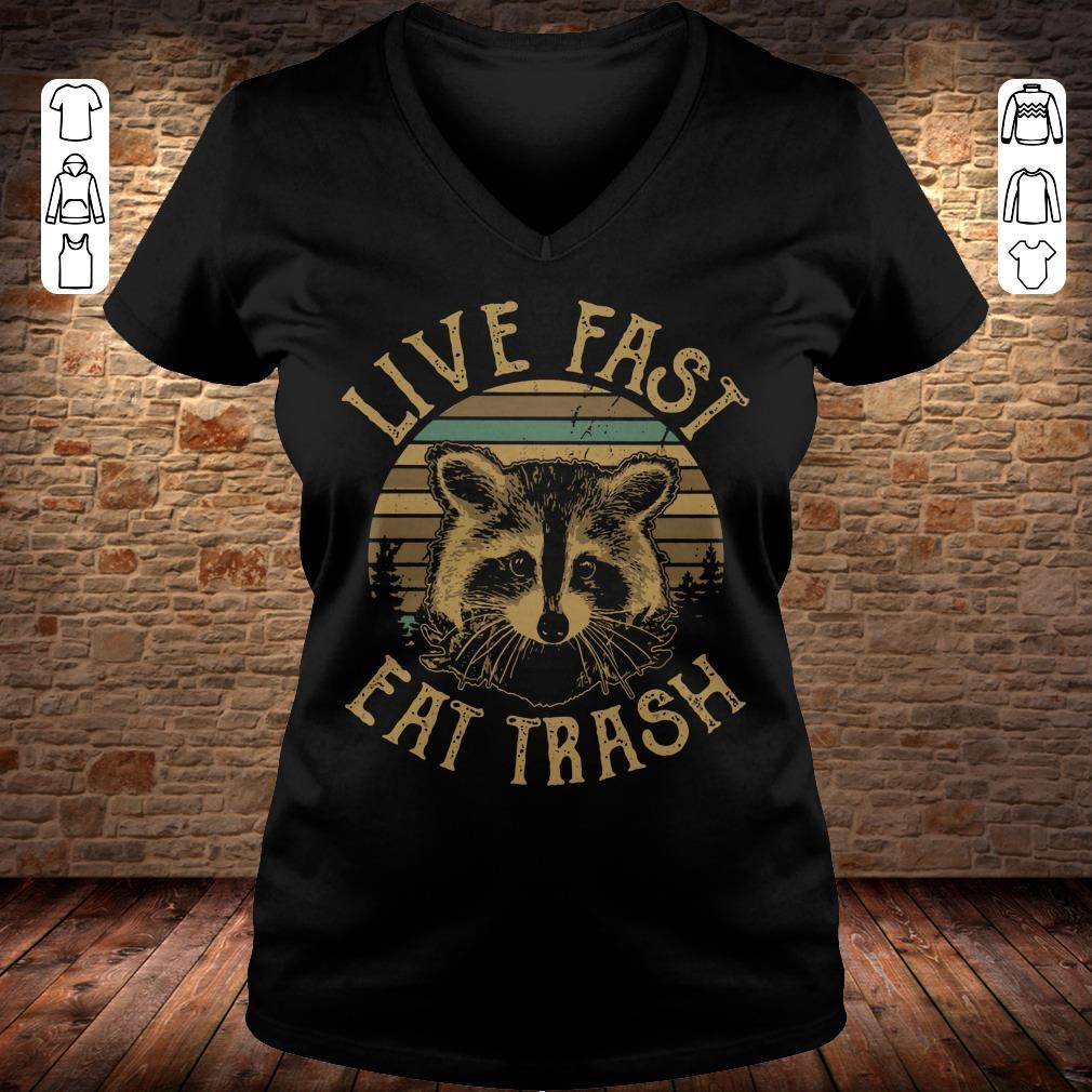 Nice Sunset Camping Live fast eat trash Raccoon shirt hoodie Ladies V-Neck
