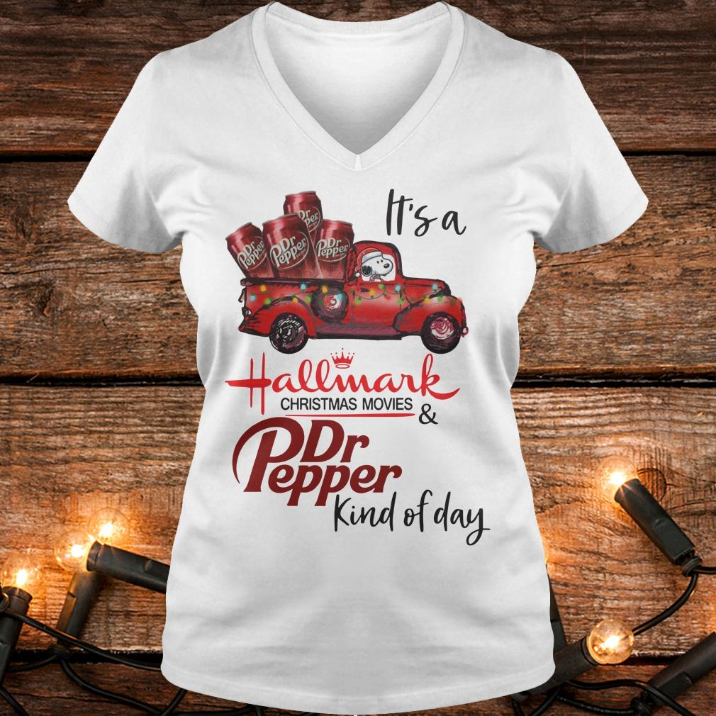 Original It's a Hallmark christmas movies Dr Pepper kind of day shirt Ladies V-Neck