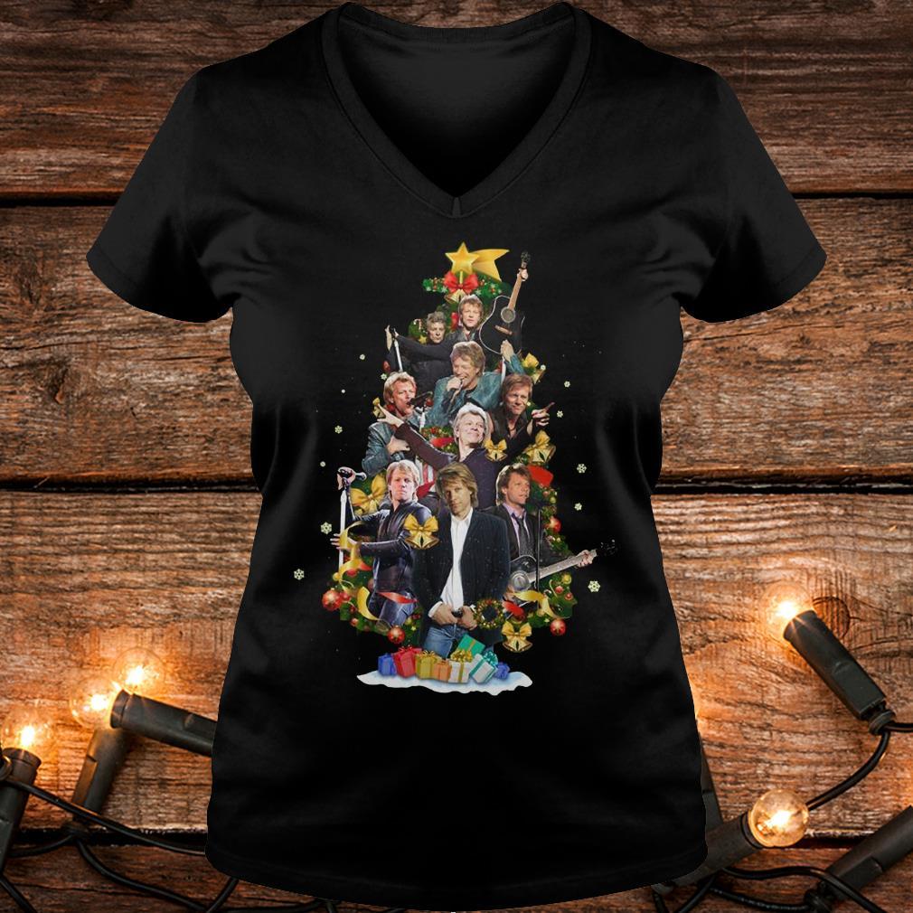 Top Jon Bon Jovi Christmas Tree shirt Ladies V-Neck